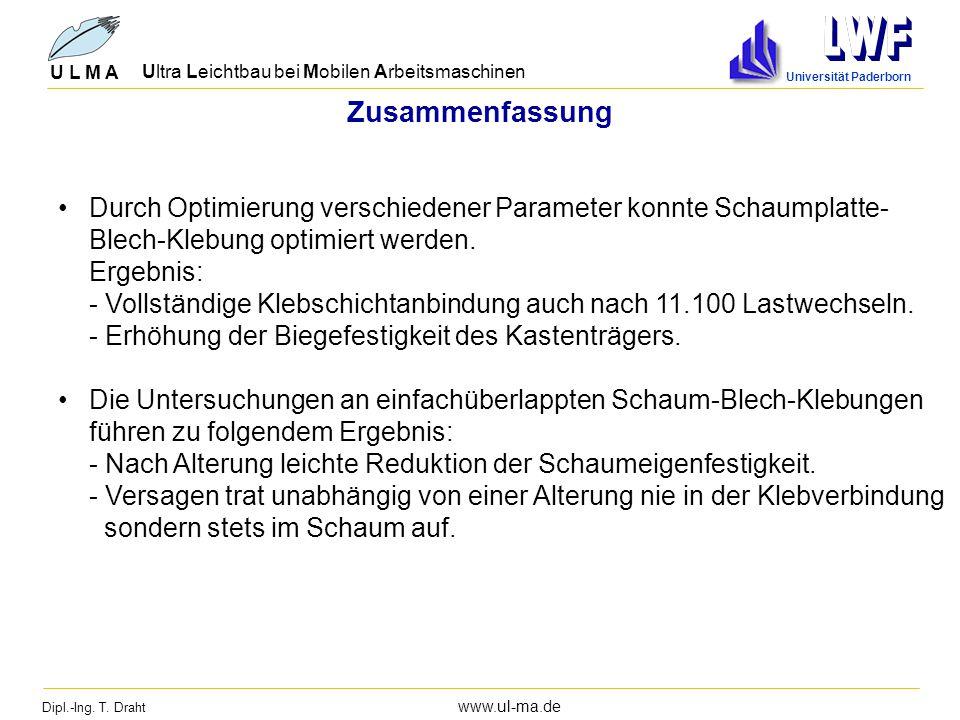 Dipl.-Ing. T. Draht www.ul-ma.de U L M A Ultra Leichtbau bei Mobilen Arbeitsmaschinen Universität Paderborn Zusammenfassung Durch Optimierung verschie