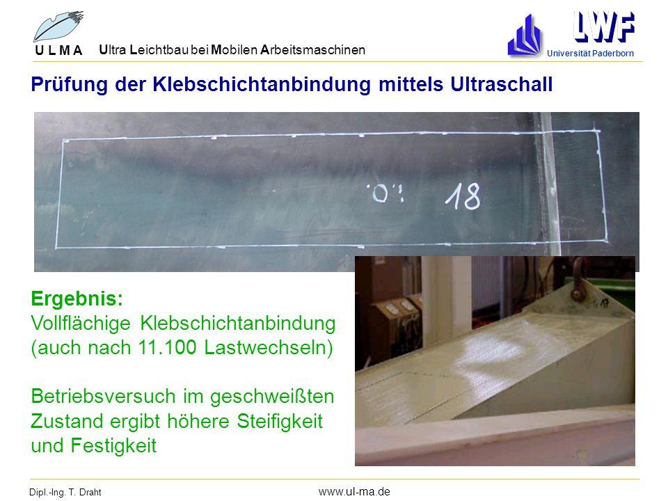 Dipl.-Ing. T. Draht www.ul-ma.de U L M A Ultra Leichtbau bei Mobilen Arbeitsmaschinen Universität Paderborn Ergebnis: Vollflächige Klebschichtanbindun