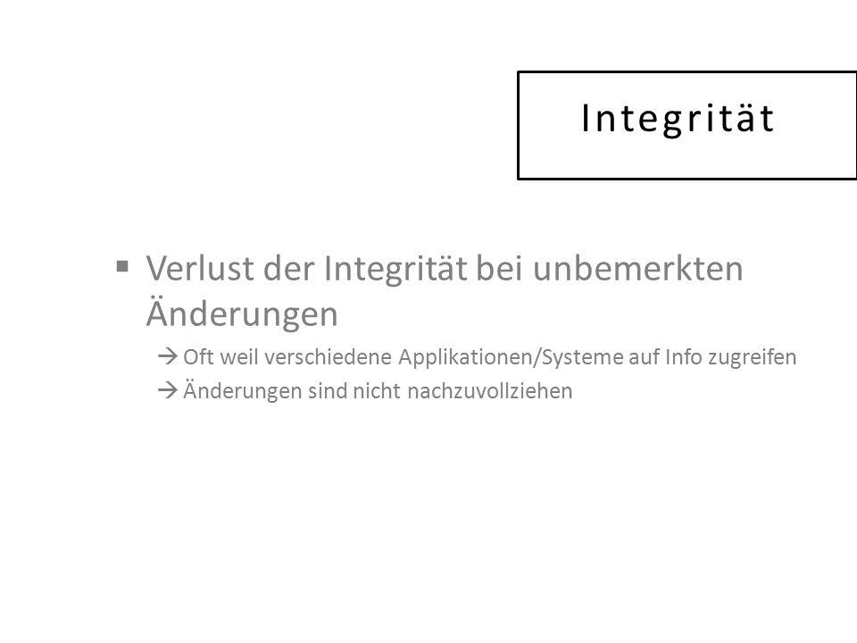 Integrität  Verlust der Integrität bei unbemerkten Änderungen  Oft weil verschiedene Applikationen/Systeme auf Info zugreifen  Änderungen sind nicht nachzuvollziehen