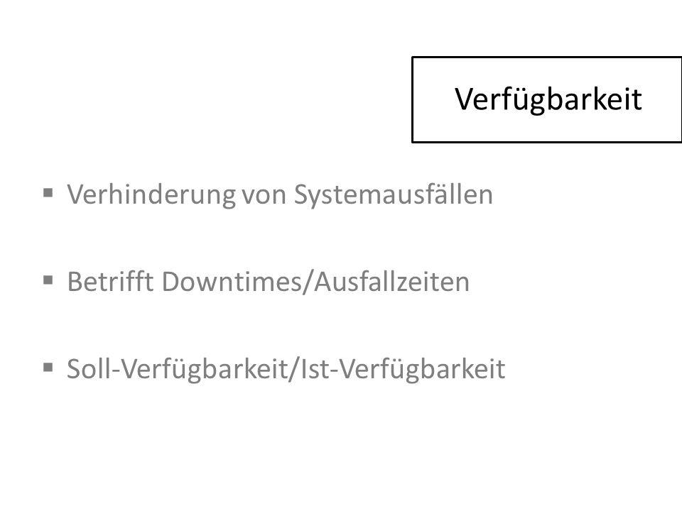 Verfügbarkeit  Verhinderung von Systemausfällen  Betrifft Downtimes/Ausfallzeiten  Soll-Verfügbarkeit/Ist-Verfügbarkeit
