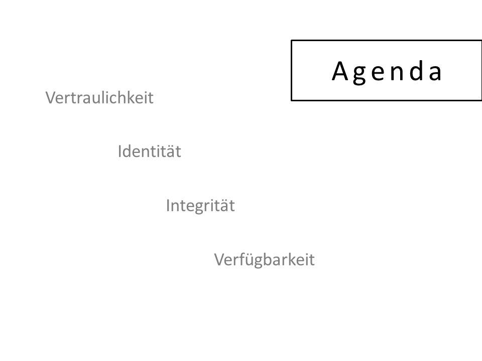 Agenda Vertraulichkeit Identität Integrität Verfügbarkeit