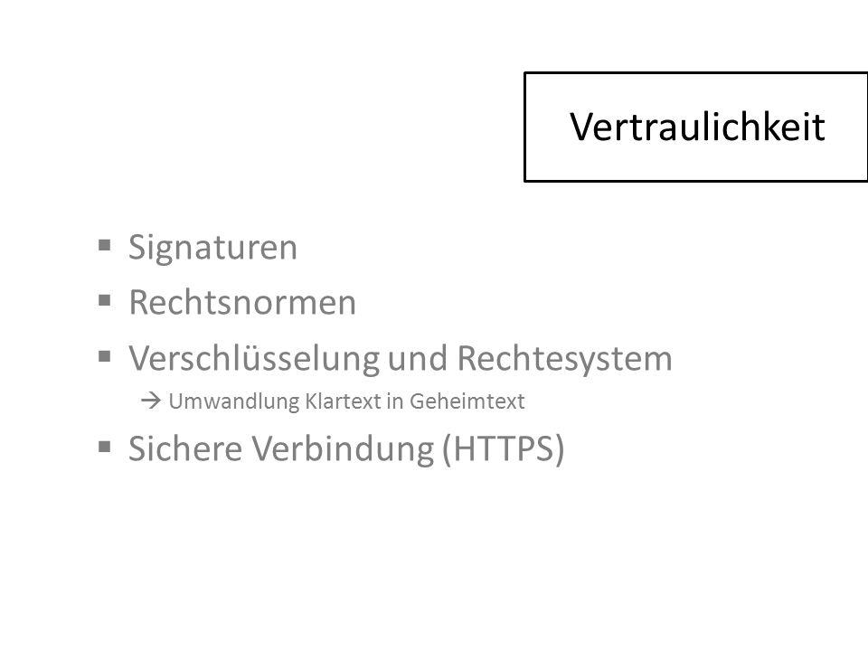  Signaturen  Rechtsnormen  Verschlüsselung und Rechtesystem  Umwandlung Klartext in Geheimtext  Sichere Verbindung (HTTPS) Vertraulichkeit