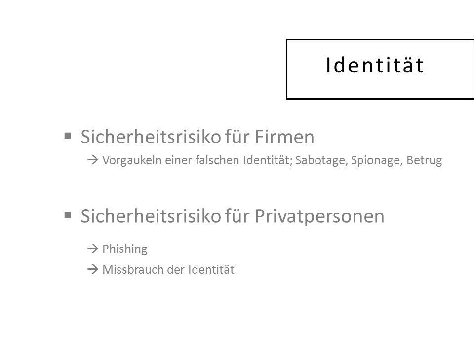Identität  Sicherheitsrisiko für Firmen  Vorgaukeln einer falschen Identität; Sabotage, Spionage, Betrug  Sicherheitsrisiko für Privatpersonen  Phishing  Missbrauch der Identität