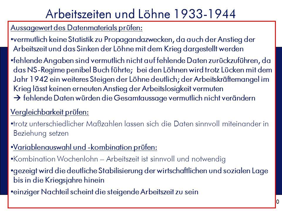 10 Arbeitszeiten und Löhne 1933-1944 Aussagewert des Datenmaterials prüfen: vermutlich keine Statistik zu Propagandazwecken, da auch der Anstieg der A