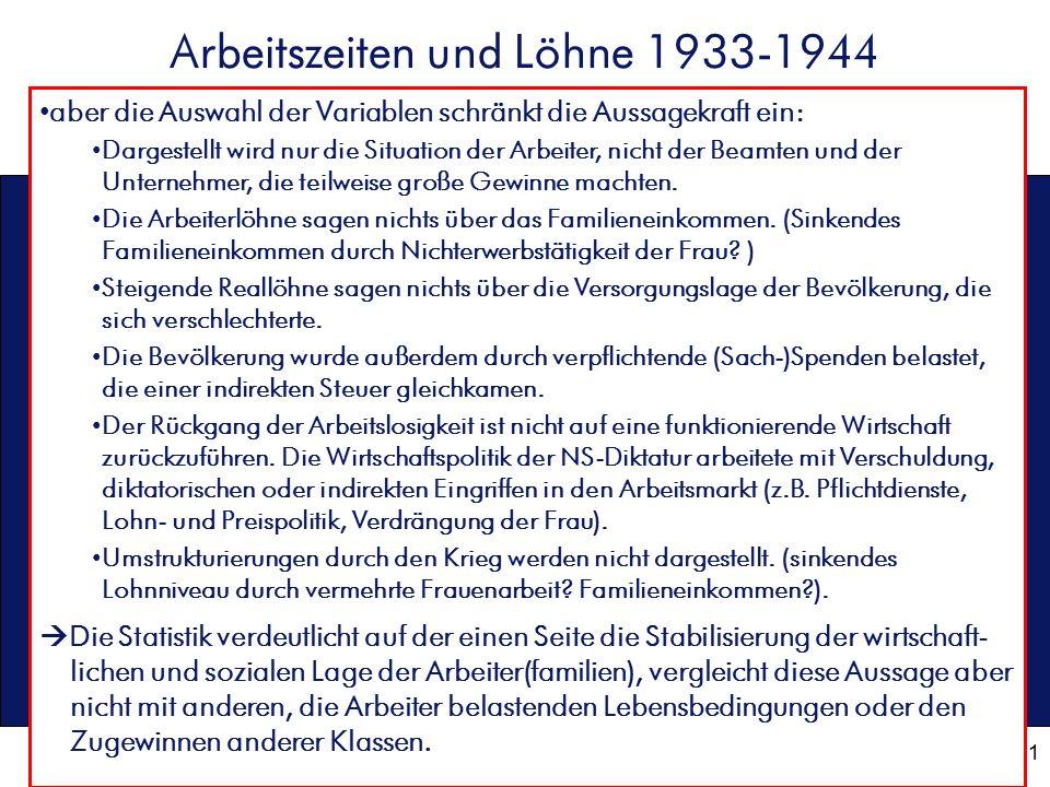 11 Arbeitszeiten und Löhne 1933-1944 aber die Auswahl der Variablen schränkt die Aussagekraft ein: Dargestellt wird nur die Situation der Arbeiter, ni
