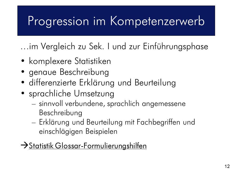 Progression im Kompetenzerwerb …im Vergleich zu Sek. I und zur Einführungsphase komplexere Statistiken genaue Beschreibung differenzierte Erklärung un