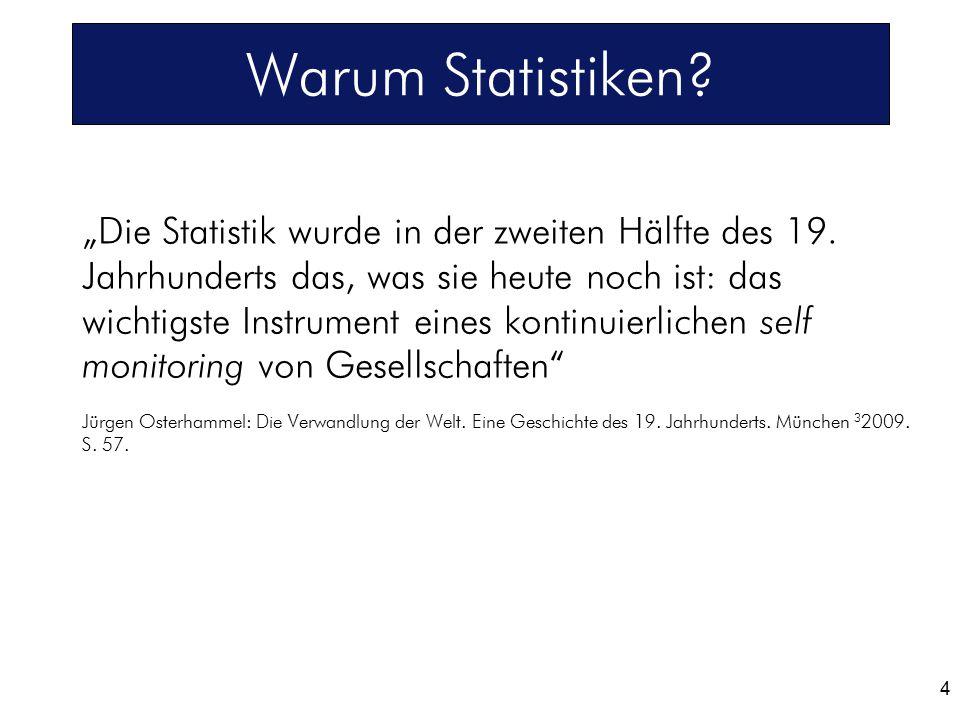 """""""Die Statistik wurde in der zweiten Hälfte des 19. Jahrhunderts das, was sie heute noch ist: das wichtigste Instrument eines kontinuierlichen self mon"""