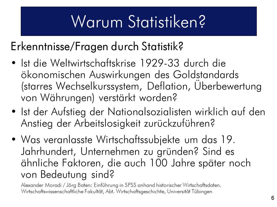 Warum Statistiken? Erkenntnisse/Fragen durch Statistik? Ist die Weltwirtschaftskrise 1929-33 durch die ökonomischen Auswirkungen des Goldstandards (st
