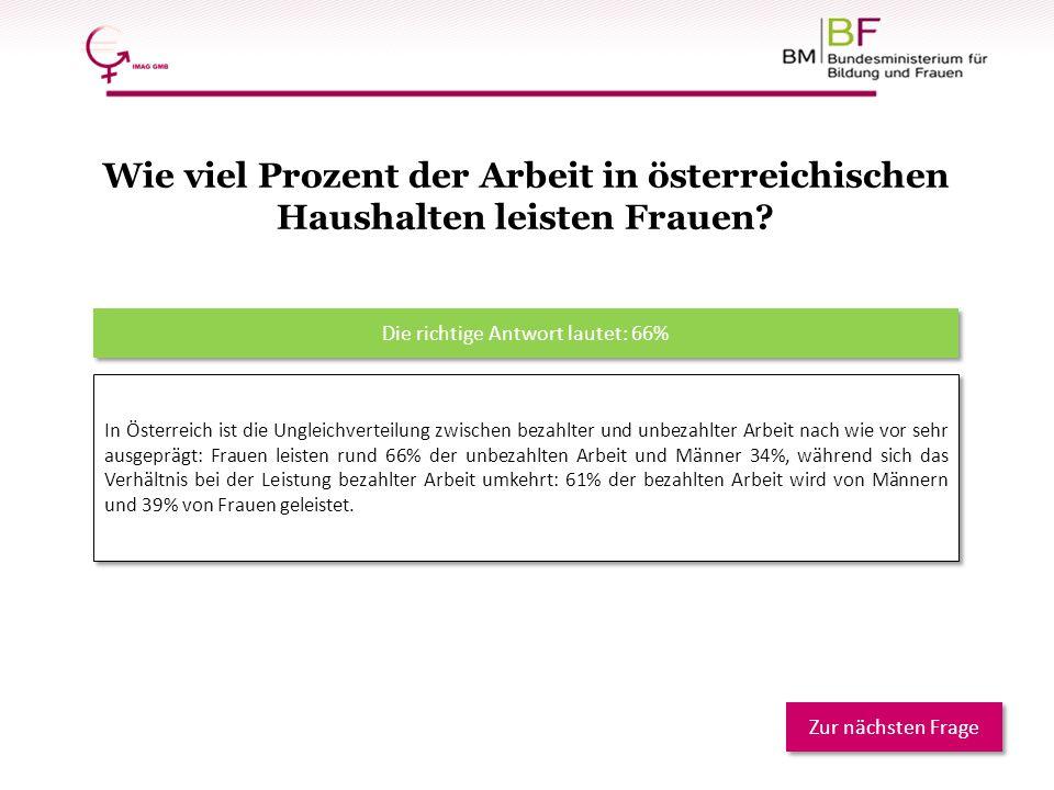 In Österreich ist die Ungleichverteilung zwischen bezahlter und unbezahlter Arbeit nach wie vor sehr ausgeprägt: Frauen leisten rund 66% der unbezahlt