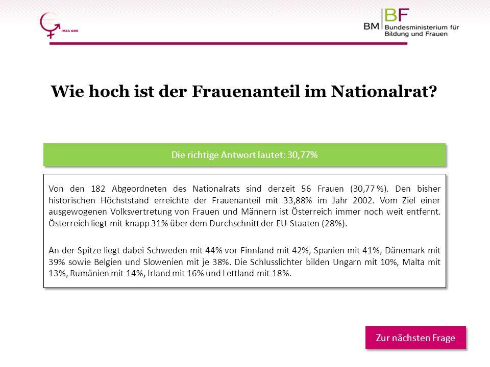 Von den 182 Abgeordneten des Nationalrats sind derzeit 56 Frauen (30,77 %). Den bisher historischen Höchststand erreichte der Frauenanteil mit 33,88%