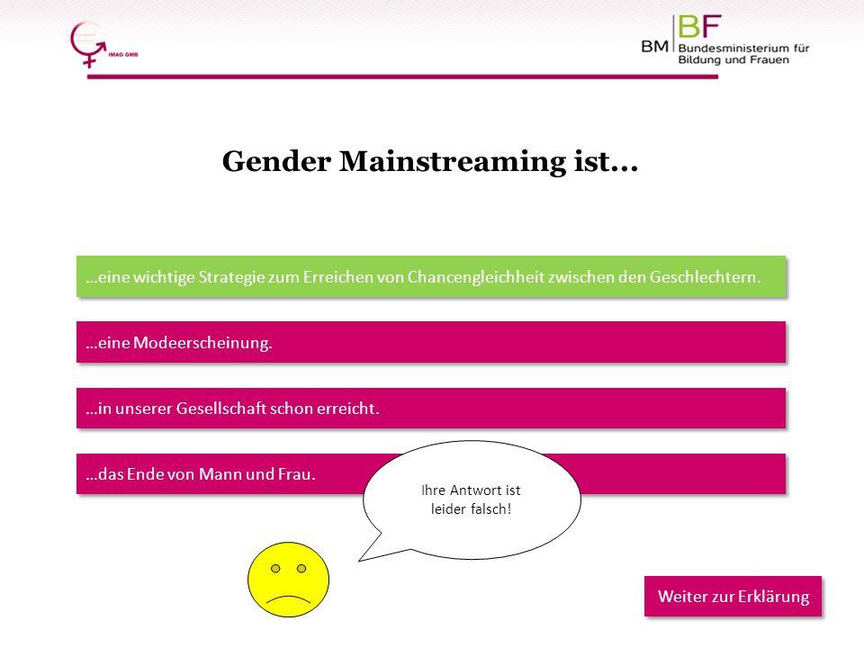 Gender Mainstreaming ist... …eine wichtige Strategie zum Erreichen von Chancengleichheit zwischen den Geschlechtern. …eine Modeerscheinung. …in unsere