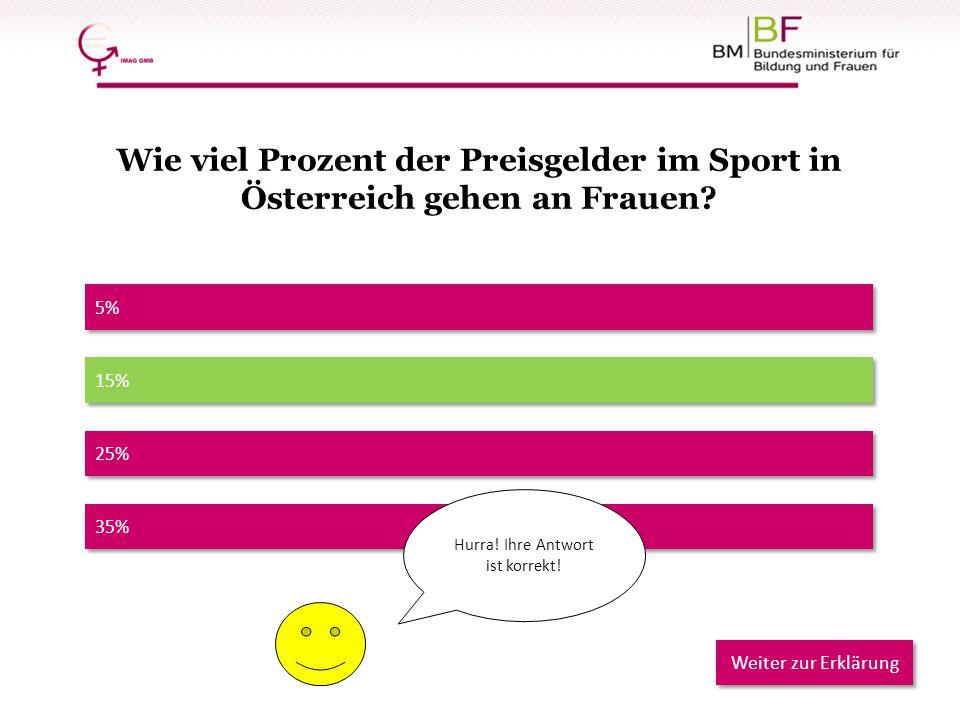 35% 5% 25% 15% Hurra! Ihre Antwort ist korrekt! Weiter zur Erklärung Wie viel Prozent der Preisgelder im Sport in Österreich gehen an Frauen?