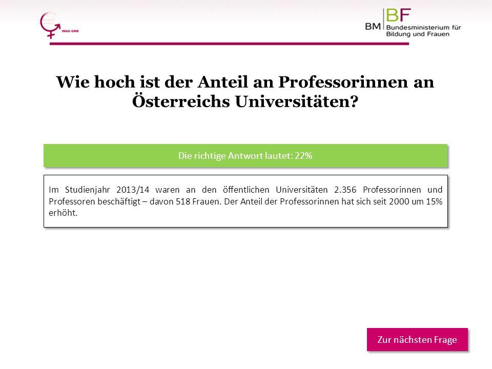 Im Studienjahr 2013/14 waren an den öffentlichen Universitäten 2.356 Professorinnen und Professoren beschäftigt – davon 518 Frauen. Der Anteil der Pro