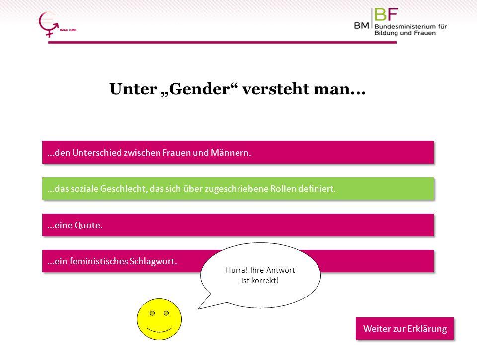 """...den Unterschied zwischen Frauen und Männern. Unter """"Gender"""" versteht man......das soziale Geschlecht, das sich über zugeschriebene Rollen definiert"""
