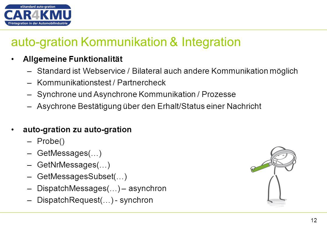 auto-gration Kommunikation & Integration Allgemeine Funktionalität –Standard ist Webservice / Bilateral auch andere Kommunikation möglich –Kommunikationstest / Partnercheck –Synchrone und Asynchrone Kommunikation / Prozesse –Asychrone Bestätigung über den Erhalt/Status einer Nachricht auto-gration zu auto-gration –Probe() –GetMessages(…) –GetNrMessages(…) –GetMessagesSubset(…) –DispatchMessages(…) – asynchron –DispatchRequest(…) - synchron 12
