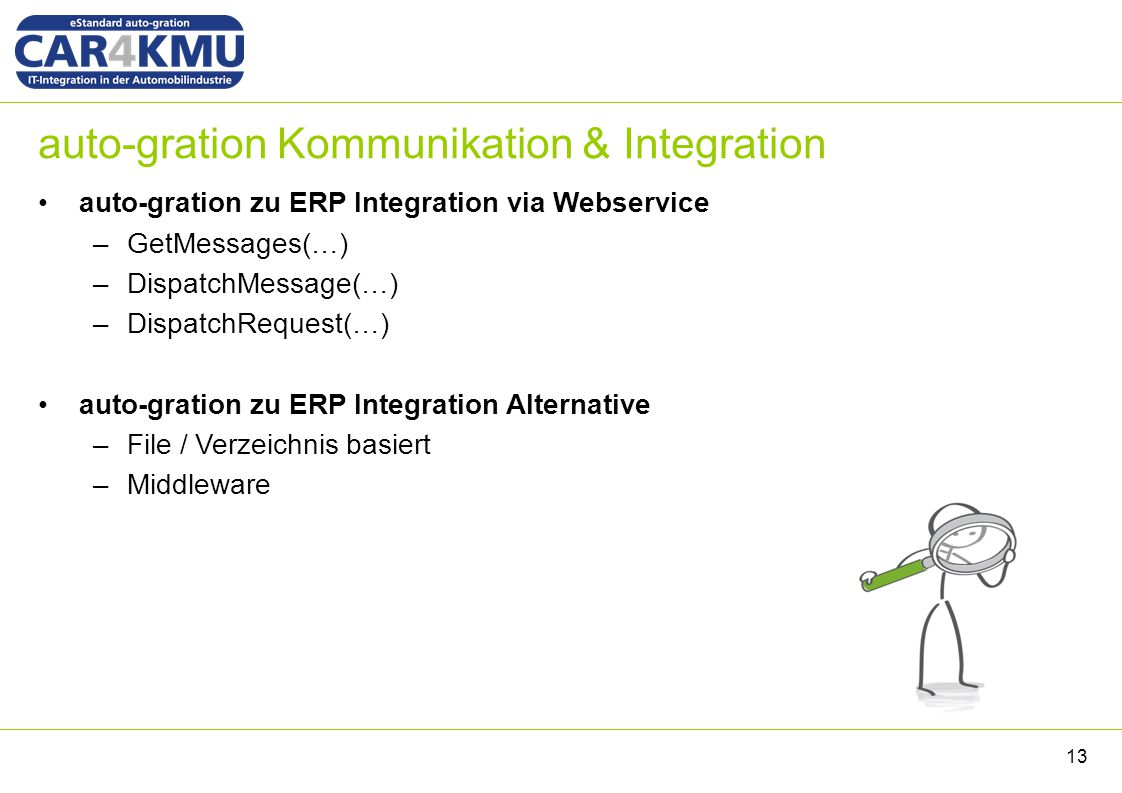 auto-gration Kommunikation & Integration auto-gration zu ERP Integration via Webservice –GetMessages(…) –DispatchMessage(…) –DispatchRequest(…) auto-gration zu ERP Integration Alternative –File / Verzeichnis basiert –Middleware 13
