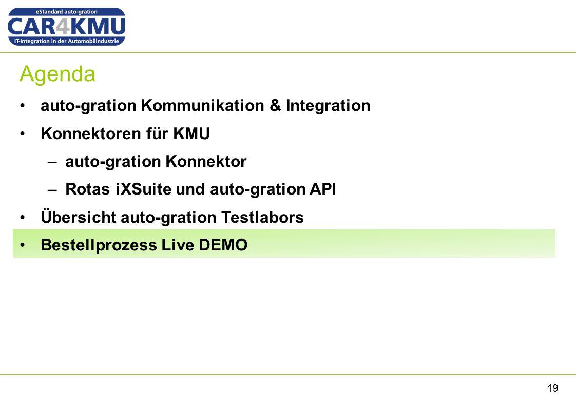Agenda auto-gration Kommunikation & Integration Konnektoren für KMU –auto-gration Konnektor –Rotas iXSuite und auto-gration API Übersicht auto-gration Testlabors Bestellprozess Live DEMO 19