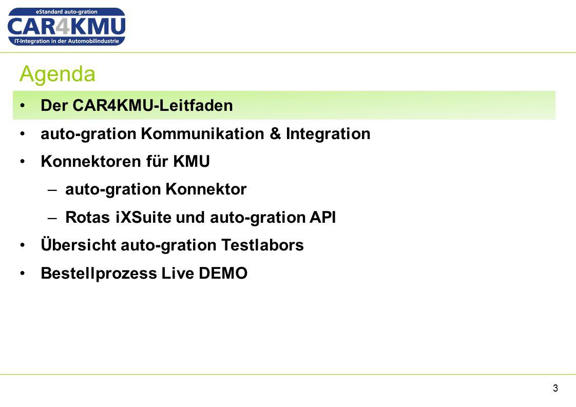 Agenda Der CAR4KMU-Leitfaden auto-gration Kommunikation & Integration Konnektoren für KMU –auto-gration Konnektor –Rotas iXSuite und auto-gration API Übersicht auto-gration Testlabors Bestellprozess Live DEMO 14