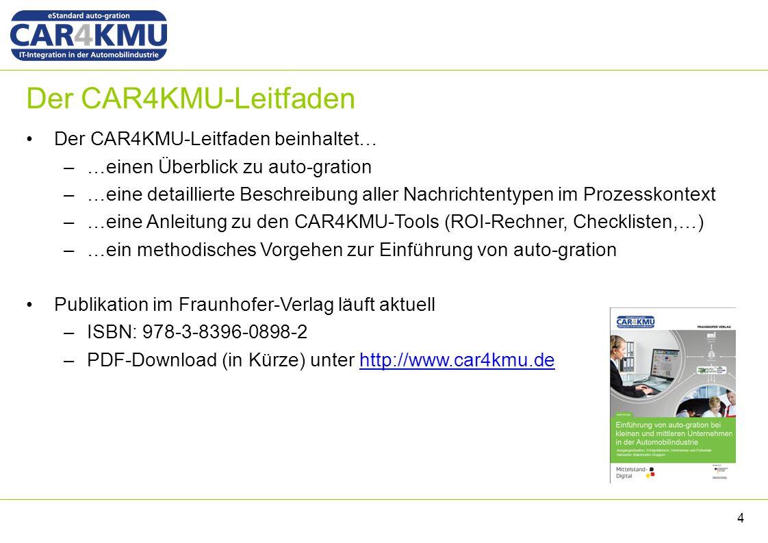 Der CAR4KMU-Leitfaden Der CAR4KMU-Leitfaden beinhaltet… –…einen Überblick zu auto-gration –…eine detaillierte Beschreibung aller Nachrichtentypen im Prozesskontext –…eine Anleitung zu den CAR4KMU-Tools (ROI-Rechner, Checklisten,…) –…ein methodisches Vorgehen zur Einführung von auto-gration Publikation im Fraunhofer-Verlag läuft aktuell –ISBN: 978-3-8396-0898-2 –PDF-Download (in Kürze) unter http://www.car4kmu.dehttp://www.car4kmu.de 4