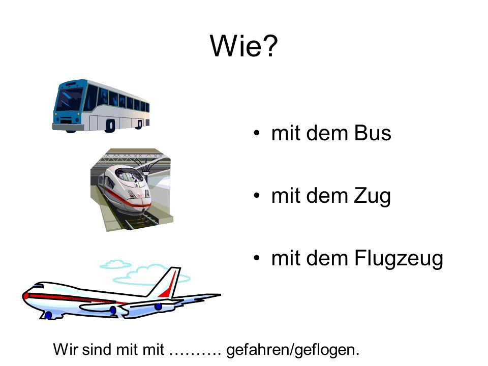 Wie? mit dem Bus mit dem Zug mit dem Flugzeug Wir sind mit mit ………. gefahren/geflogen.