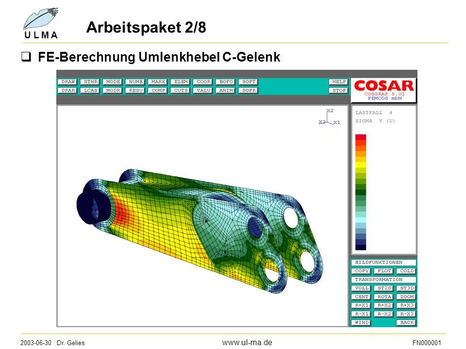 2003-06-30 Dr. Gelies www.ul-ma.de FN000001 U L M A Arbeitspaket 2/8  FE-Berechnung Umlenkhebel C-Gelenk