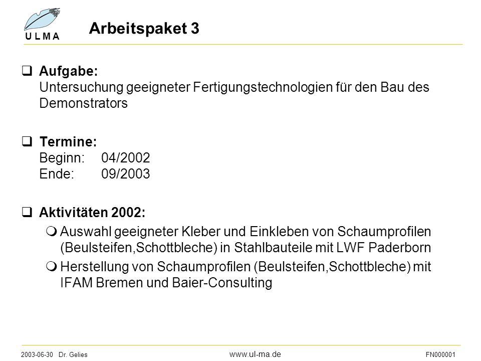 2003-06-30 Dr. Gelies www.ul-ma.de FN000001 U L M A Arbeitspaket 3  Aufgabe: Untersuchung geeigneter Fertigungstechnologien für den Bau des Demonstra
