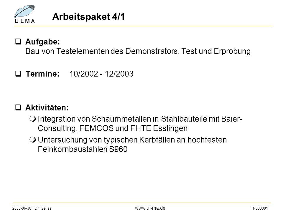 2003-06-30 Dr. Gelies www.ul-ma.de FN000001 U L M A Arbeitspaket 4/1  Aufgabe: Bau von Testelementen des Demonstrators, Test und Erprobung  Termine: