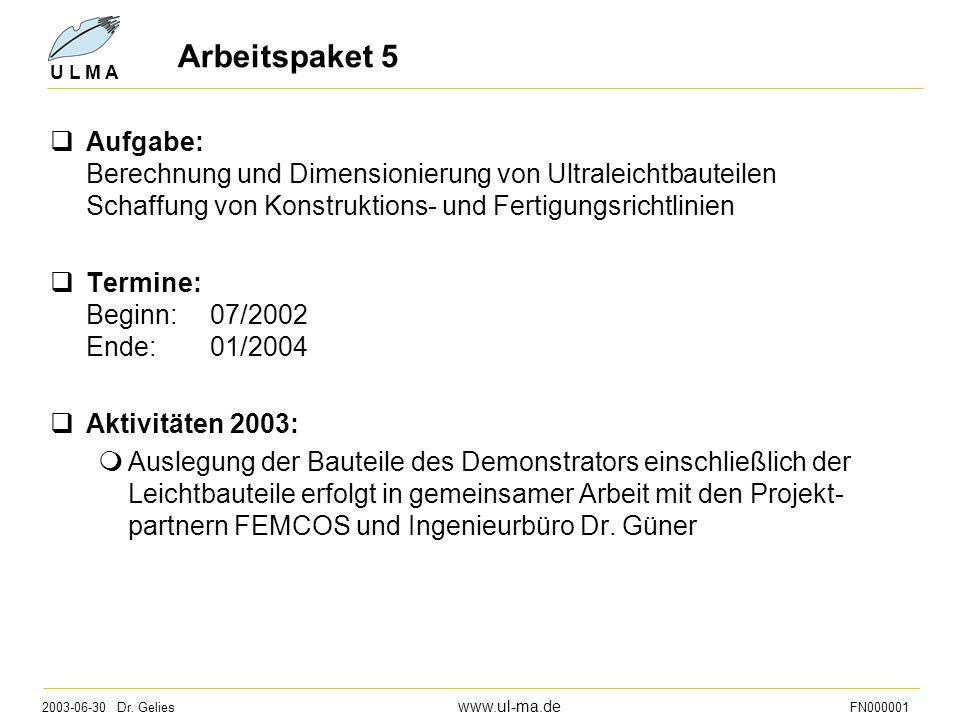 2003-06-30 Dr. Gelies www.ul-ma.de FN000001 U L M A Arbeitspaket 5  Aufgabe: Berechnung und Dimensionierung von Ultraleichtbauteilen Schaffung von Ko