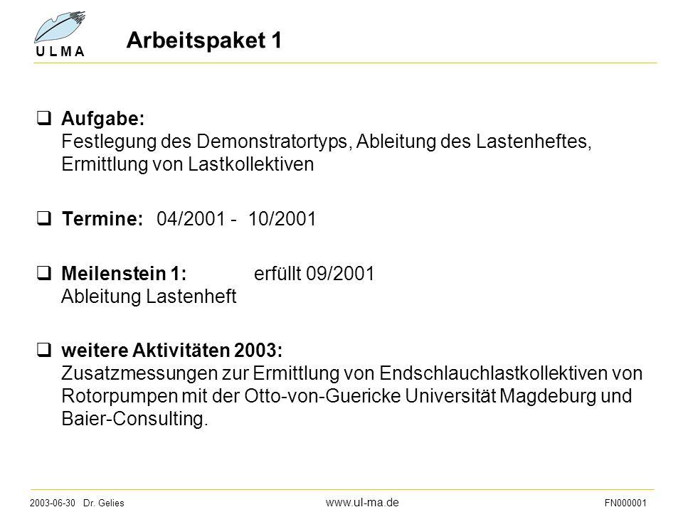 2003-06-30 Dr. Gelies www.ul-ma.de FN000001 U L M A Arbeitspaket 1  Aufgabe: Festlegung des Demonstratortyps, Ableitung des Lastenheftes, Ermittlung