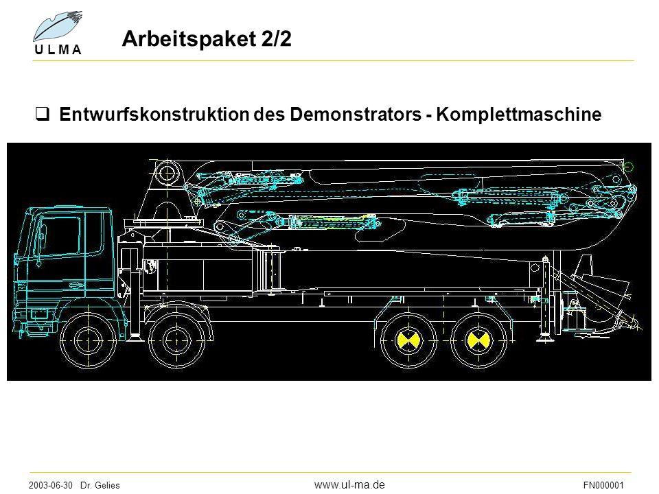 2003-06-30 Dr. Gelies www.ul-ma.de FN000001 U L M A Arbeitspaket 2/2  Entwurfskonstruktion des Demonstrators - Komplettmaschine