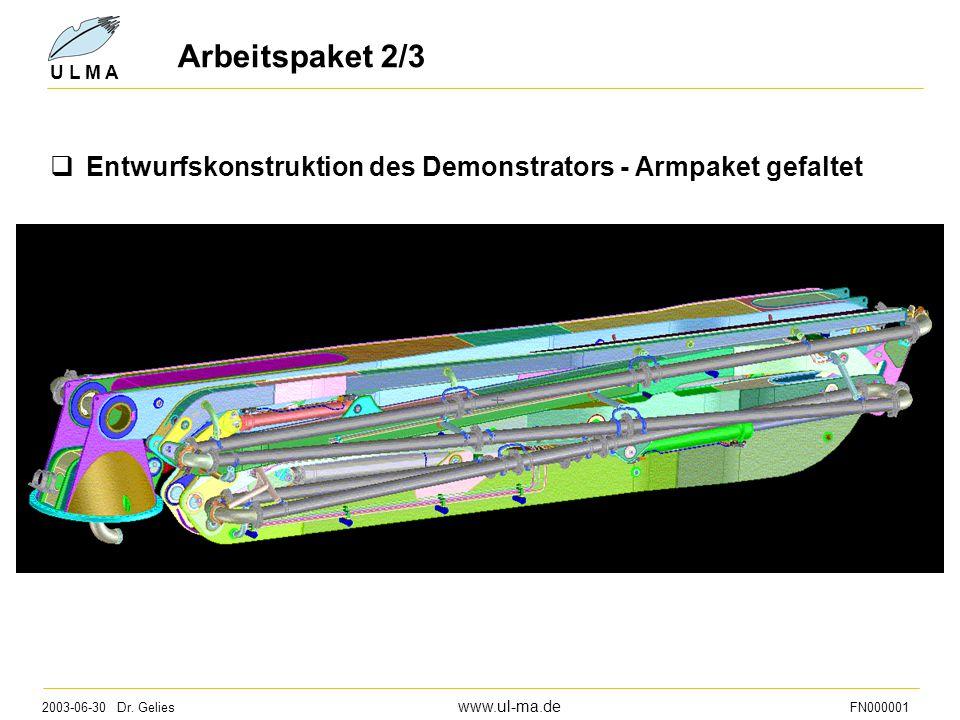 2003-06-30 Dr. Gelies www.ul-ma.de FN000001 U L M A Arbeitspaket 2/3  Entwurfskonstruktion des Demonstrators - Armpaket gefaltet