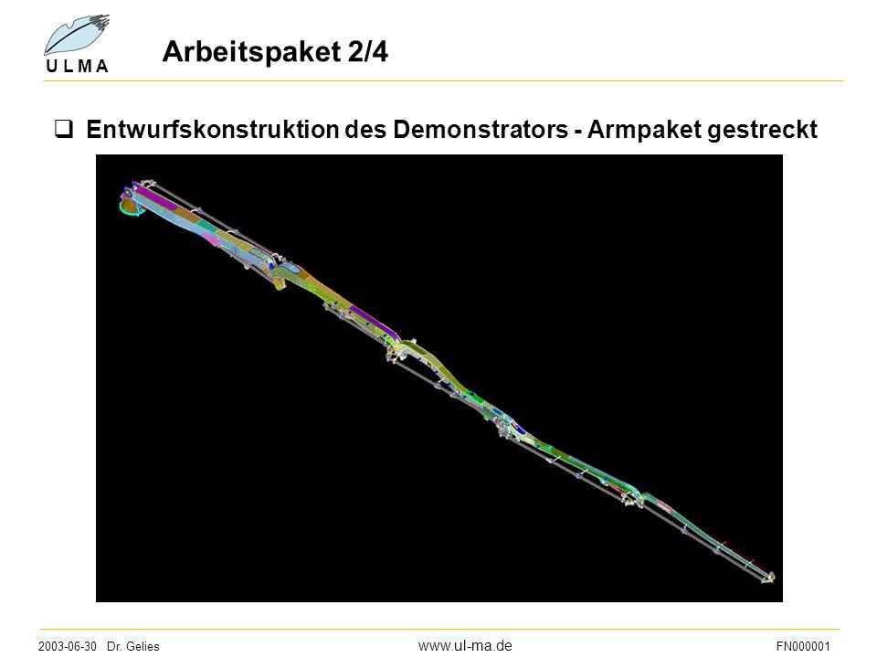 2003-06-30 Dr. Gelies www.ul-ma.de FN000001 U L M A Arbeitspaket 2/4  Entwurfskonstruktion des Demonstrators - Armpaket gestreckt