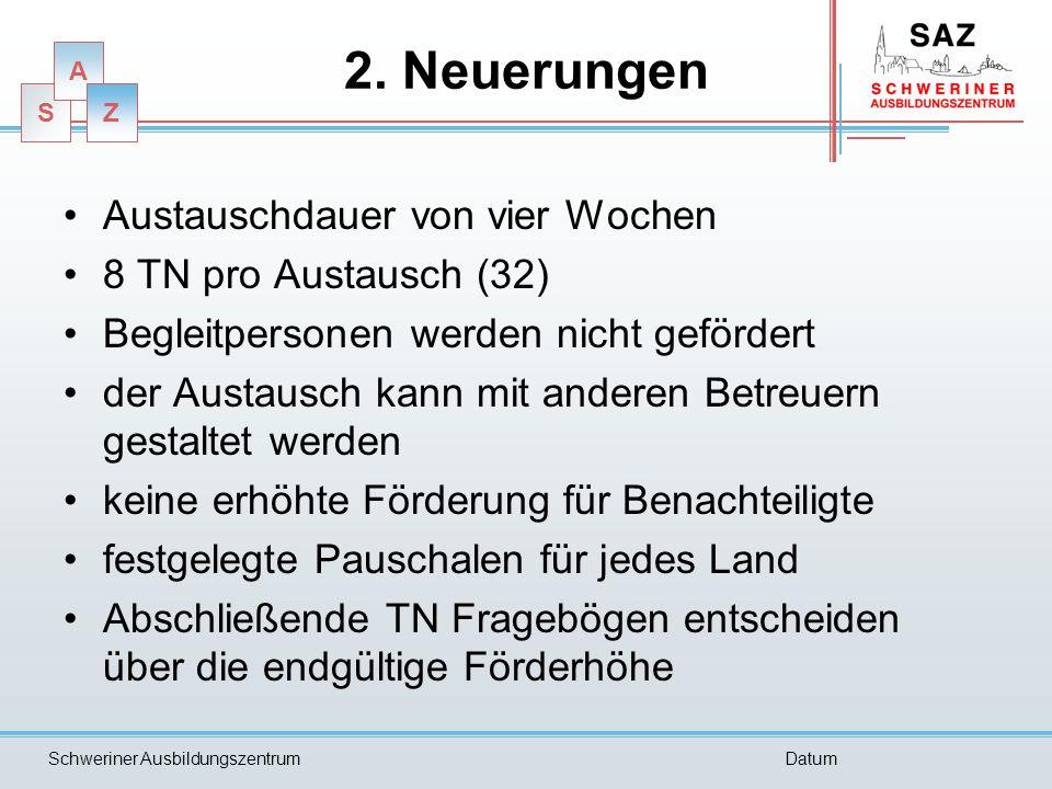 S A Z Schweriner AusbildungszentrumDatum 2. Neuerungen Austauschdauer von vier Wochen 8 TN pro Austausch (32) Begleitpersonen werden nicht gefördert d