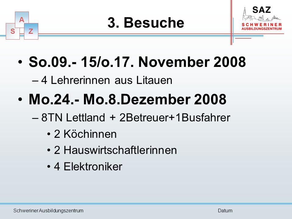 S A Z Schweriner AusbildungszentrumDatum 3. Besuche So.09.- 15/o.17. November 2008 –4 Lehrerinnen aus Litauen Mo.24.- Mo.8.Dezember 2008 –8TN Lettland
