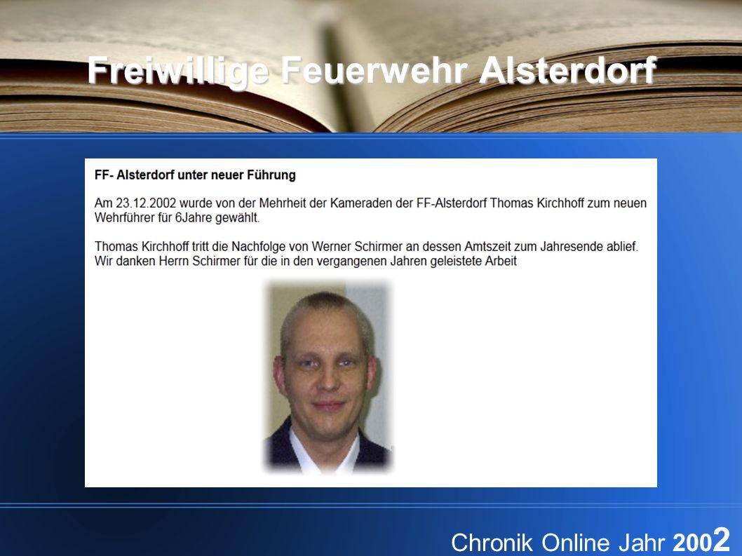 Freiwillige Feuerwehr Alsterdorf Chronik Online Jahr 200 2