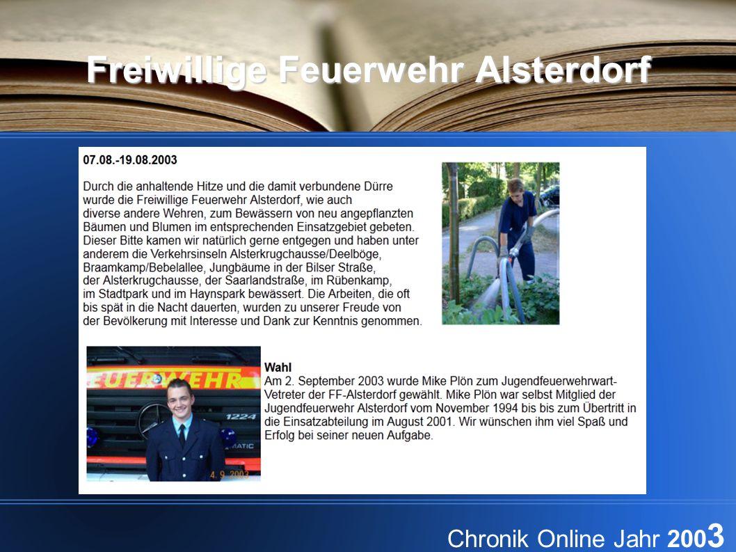 Freiwillige Feuerwehr Alsterdorf Chronik Online Jahr 200 3