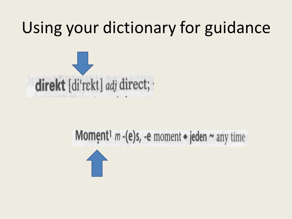 Using your dictionary for guidance