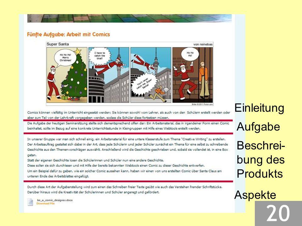 Einleitung Aufgabe Beschrei- bung des Produkts Aspekte
