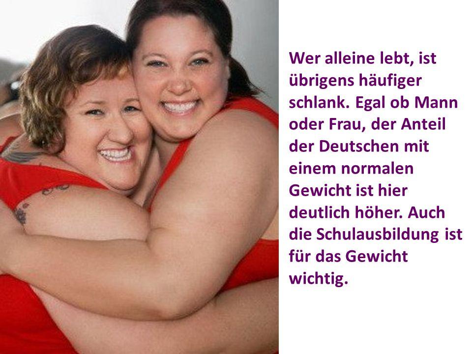 Wer alleine lebt, ist übrigens häufiger schlank. Egal ob Mann oder Frau, der Anteil der Deutschen mit einem normalen Gewicht ist hier deutlich höher.