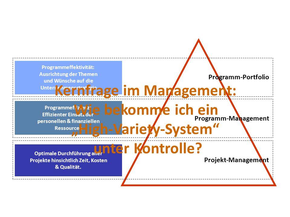 Programmeffektivität: Ausrichtung der Themen und Wünsche auf die Unternehmensstrategie Programm-Portfolio Programmeffizienz: Effizienter Einsatz der personellen & finanziellen Ressourcen Programm-Management Optimale Durchführung aller Projekte hinsichtlich Zeit, Kosten & Qualität.