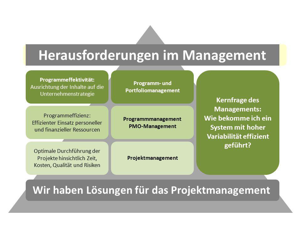 Programmeffektivität: Ausrichtung der Inhalte auf die Unternehmenstrategie Programmeffizienz: Effizienter Einsatz personeller und finanzieller Ressourcen Optimale Durchführung der Projekte hinsichtlich Zeit, Kosten, Qualität und Risiken Programm- und Portfoliomanagement Programmmanagement PMO-Management Projektmanagement Kernfrage des Managements: Wie bekomme ich ein System mit hoher Variabilität effizient geführt.