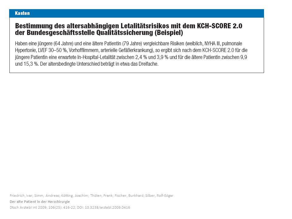 Friedrich, Ivar; Simm, Andreas; Kötting, Joachim; Thölen, Frank; Fischer, Burkhard; Silber, Rolf-Edgar Der alte Patient in der Herzchirurgie Dtsch Arztebl Int 2009; 106(25): 416-22; DOI: 10.3238/arztebl.2009.0416
