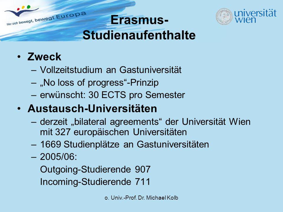 "o. Univ.-Prof. Dr. Michael Kolb Erasmus- Studienaufenthalte Zweck –Vollzeitstudium an Gastuniversität –""No loss of progress""-Prinzip –erwünscht: 30 EC"