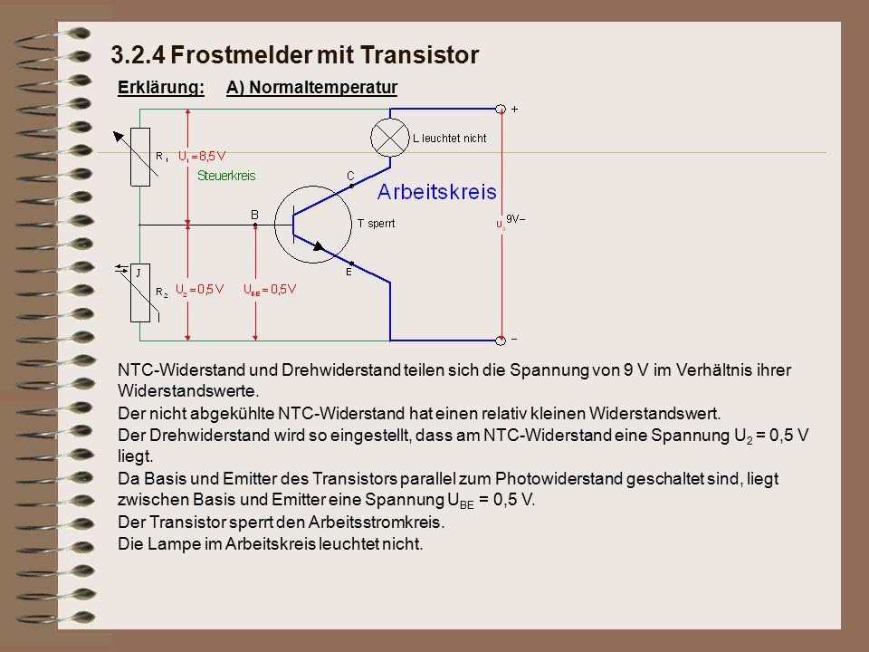 Erklärung: Die Lampe im Arbeitskreis leuchtet nicht. Der Transistor sperrt den Arbeitsstromkreis. Da Basis und Emitter des Transistors parallel zum Ph
