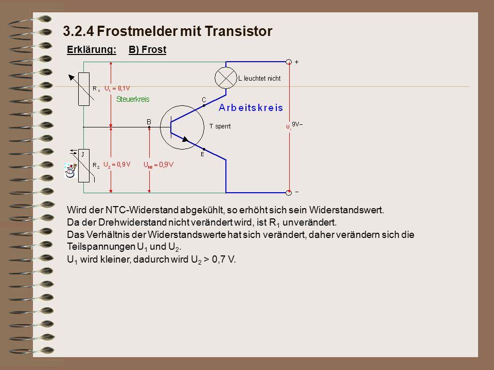 Erklärung: Das Verhältnis der Widerstandswerte hat sich verändert, daher verändern sich die Teilspannungen U 1 und U 2. U 1 wird kleiner, dadurch wird