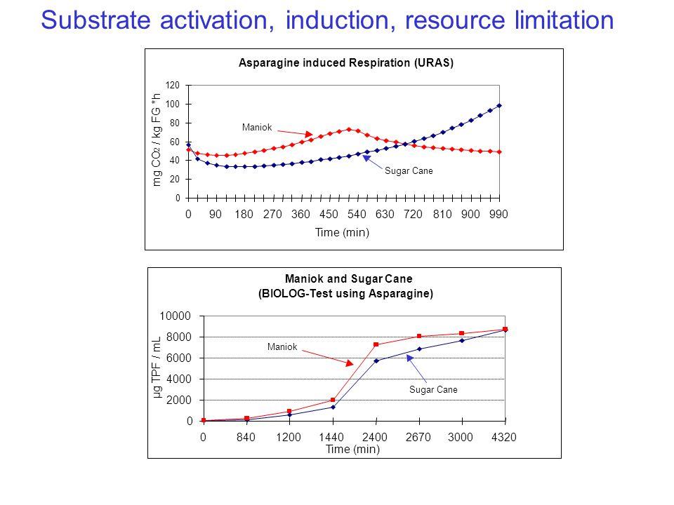 Time (min) mg CO 2 / kg FG *h Maniok Sugar Cane Maniok and Sugar Cane (BIOLOG-Test using Asparagine) 0 2000 4000 6000 8000 10000 084012001440240026703