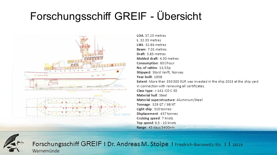 Forschungsschiff GREIF I Dr. Andreas M. Stolpe I Friedrich-Barnewitz-Str. 3 I 18119 Warnemünde Forschungsschiff GREIF - Übersicht LOA: 37.25 metres L: