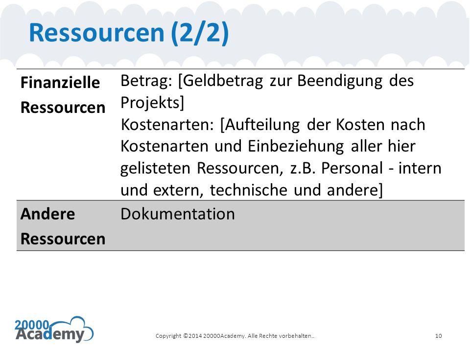 Ressourcen (2/2) Finanzielle Ressourcen Betrag: [Geldbetrag zur Beendigung des Projekts] Kostenarten: [Aufteilung der Kosten nach Kostenarten und Einb