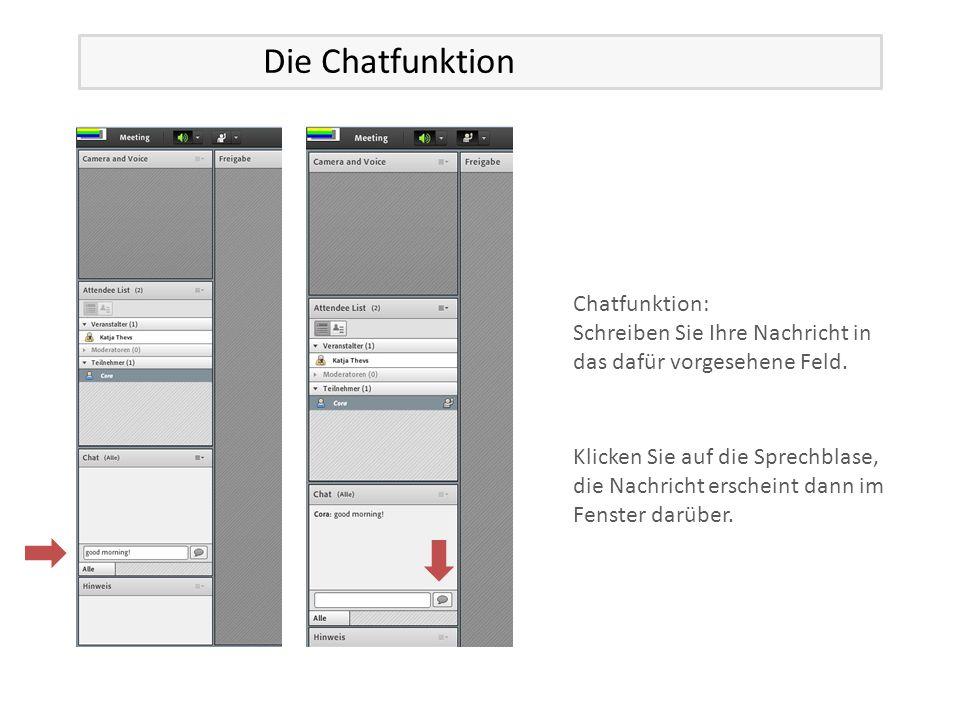 Chatfunktion: Schreiben Sie Ihre Nachricht in das dafür vorgesehene Feld.