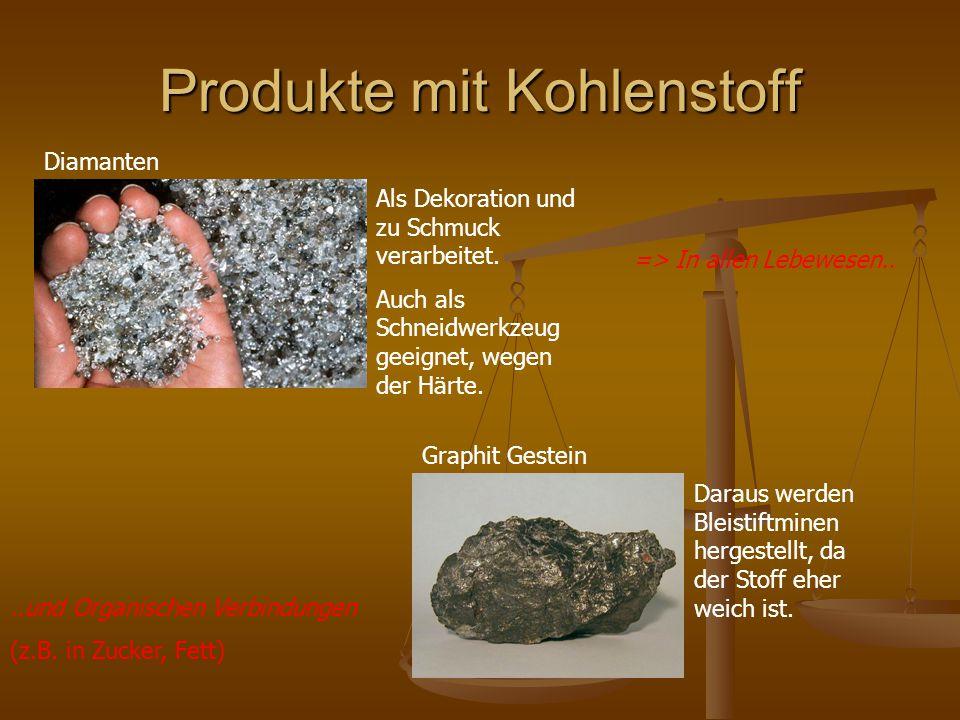 Produkte mit Kohlenstoff Diamanten Graphit Gestein Als Dekoration und zu Schmuck verarbeitet.